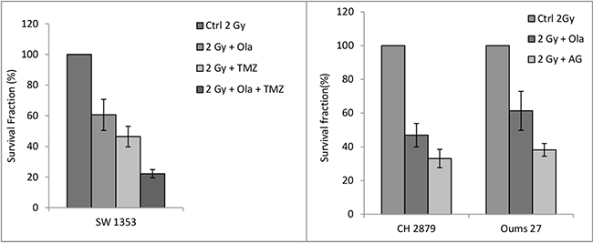 Clonogenic survival rate of chondrosarcoma cell after protontherapy sensitization with alkylant agents and PARPi.