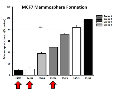 Effects of 7 top hit compounds on mammosphere formation, representing 4 different structural groups or classes.