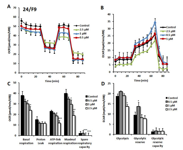 Effects of compound 24/F9 on metabolic activity of MCF7 human breast cancer cells.