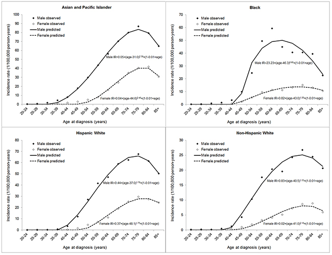 Modelling of age-specific incidence rate (IR) of hepatocellular carcinoma by sex and racial/ethnic group.