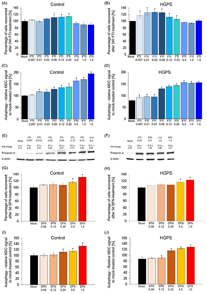 Defining the minimal FTI and SFN doses effective in HGPS cells.