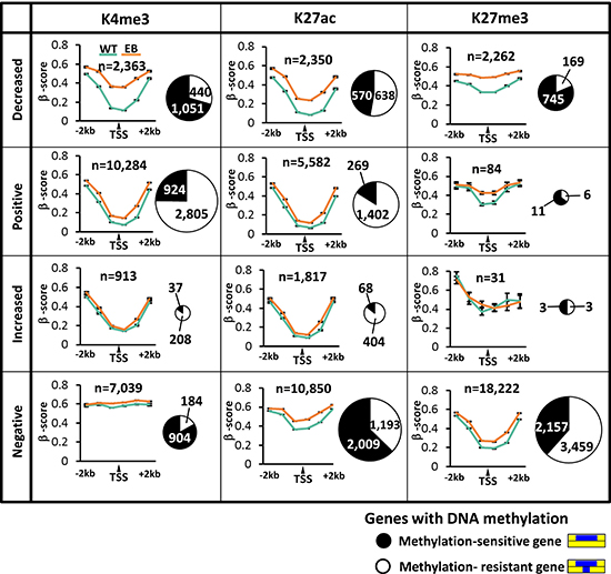 Ratio of methylation-sensitive and resistant genes and its association with histone modification alteration patterns.