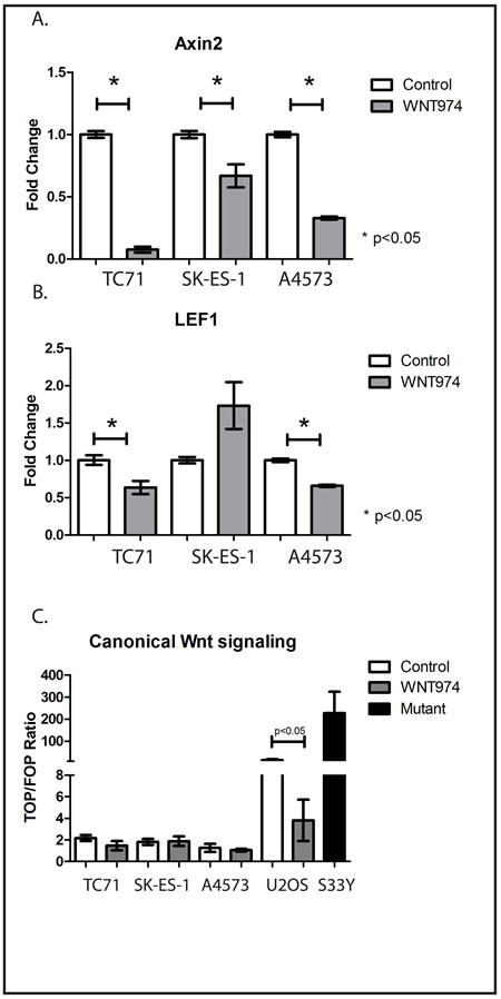 WNT974 inhibits Wnt signaling in ES cell lines.