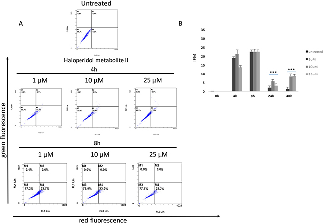 Cytofluorimetric analysis of cell autophagy following Haloperidol metabolite II treatment at different concentrations and time points.