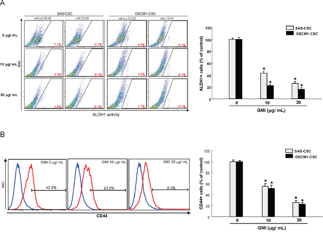 GMI effectively eliminates ALDH1 activity and CD44 positivity.