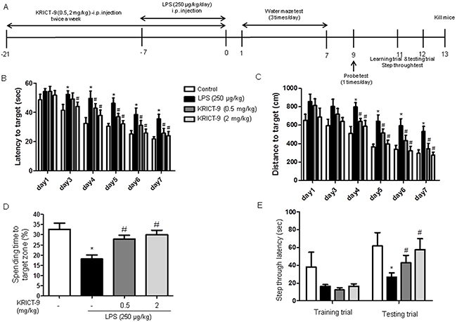 KRICT-9 improves memory in LPS-treated mice.