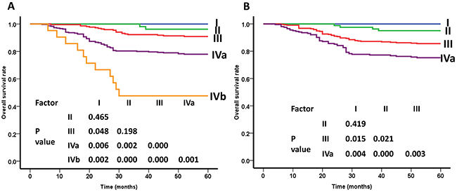 Overall survival (OS) curves of nasopharyngeal carcinoma patients for different clincal stage groups.