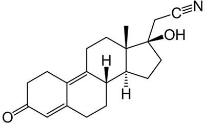 Chemical structure of the progestogen dienogest.