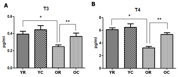Changes in the thyroid hormones of young and old rats after cold exposure.