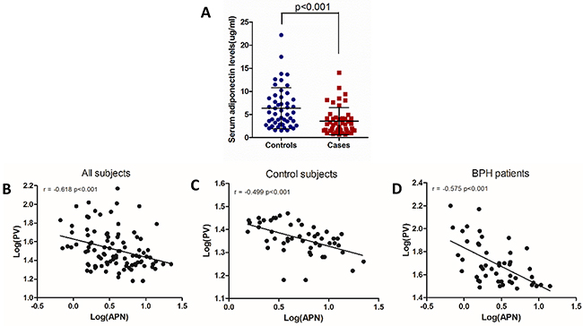Serum adiponectin levels are negatively correlated with prostate volume.