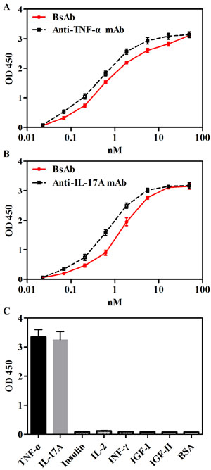 Binding abilities of bsAb to TNF-α and IL-17A in ELISA.