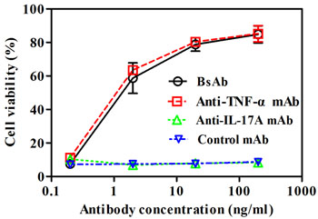 Neutralization of TNF-α-mediated cellular cytotoxicity by bsAb.