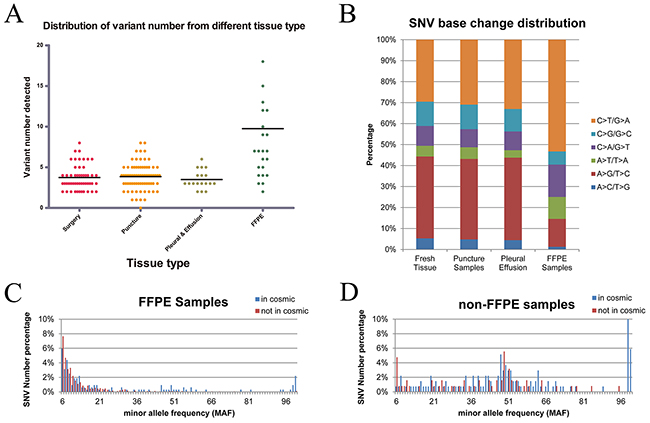 Distribution of variant numbers in different sample types and the distribution of variations in FFPE tumor samples.