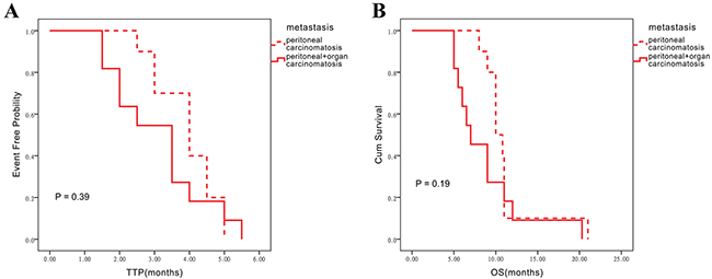 Influence of different metastatic statuses on TTP and OS assessed in the chemotherapy alone group.