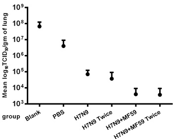 Virus titers in the lungs one week after the H7N9 viral challenge.
