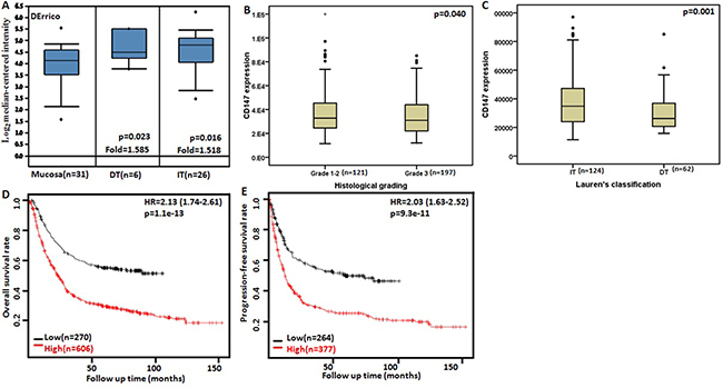 The clinicopathological significance of CD147 mRNA expression in gastric cancer.