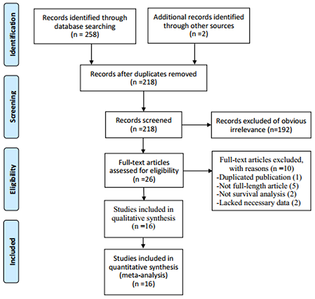 Flow chart showing the process for selecting eligible studies in the meta-analysis.