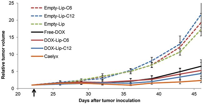 Effect of ceramide liposomes on tumor growth in mice bearing MAS98.
