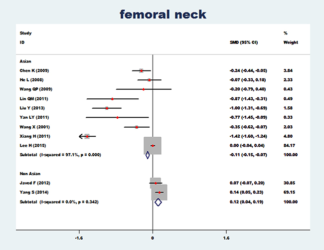Forest plot of bone mineral density of femoral neck with essential hypertension (Asian and non-Asian).
