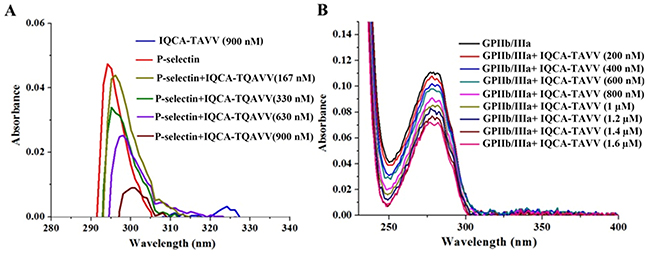 Effect of IQCA-TAVV on UV spectra of the solution of P-selectin and GPIIb/IIIa in sample diluents.