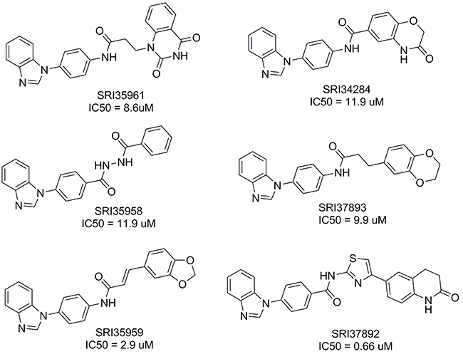 Structures of the identified small molecule Fzd7 inhibitors.