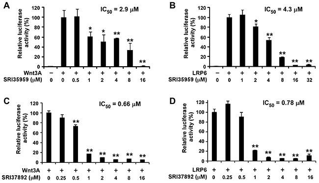 SRI35959 and SRI37892 block Wnt/β-catenin signaling in HEK293 cells induced by Wnt3A and LRP6.