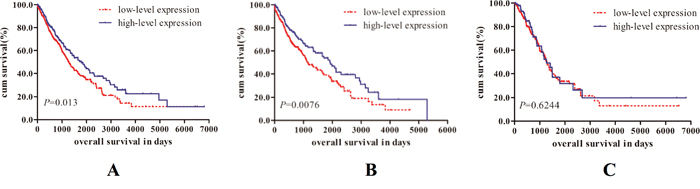 Kaplan-Meier survival curves for patients with high or low level of RAD51B expression in NSCLC.