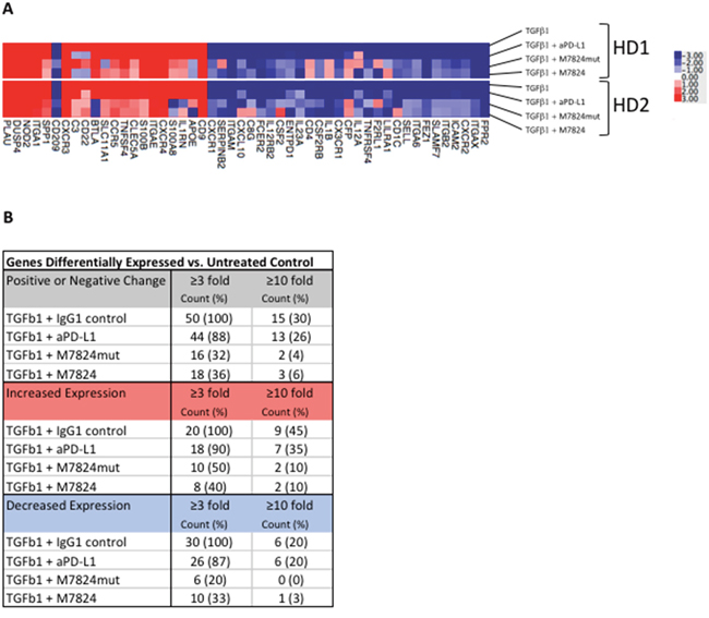 Effects of TGFß1 and M7824 on NK cell gene expression.