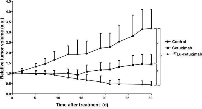 Radioimmunotherpeutic efficacy of 177Lu-PCTA-cetuximab in SNU-1066 HNSCC xenograft model.