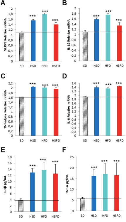 Pro-inflammasome and pro-inflammation effects in THP-1 monocytes cultivated with different sera from WT mice fed with HSD, HFD and HSFD diets.
