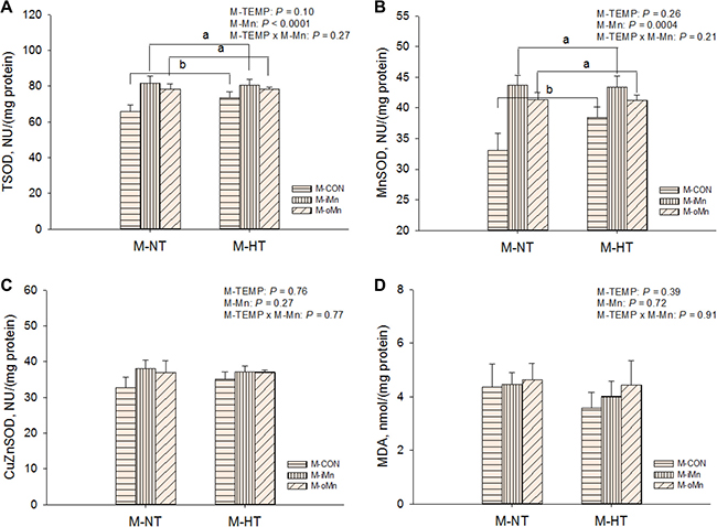Effects of maternal environmental temperature and dietary Mn on antioxidant ability in the embryonic heart.