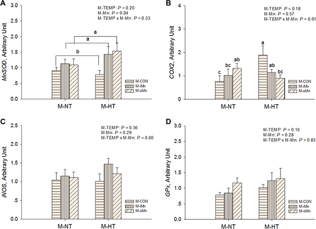 Effects of maternal environmental temperature and dietary Mn on redox-related gene mRNA expressions in the embryonic heart.