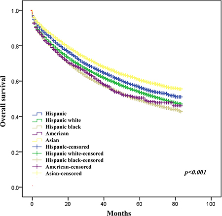 Effect of race on survival of CRC patients.