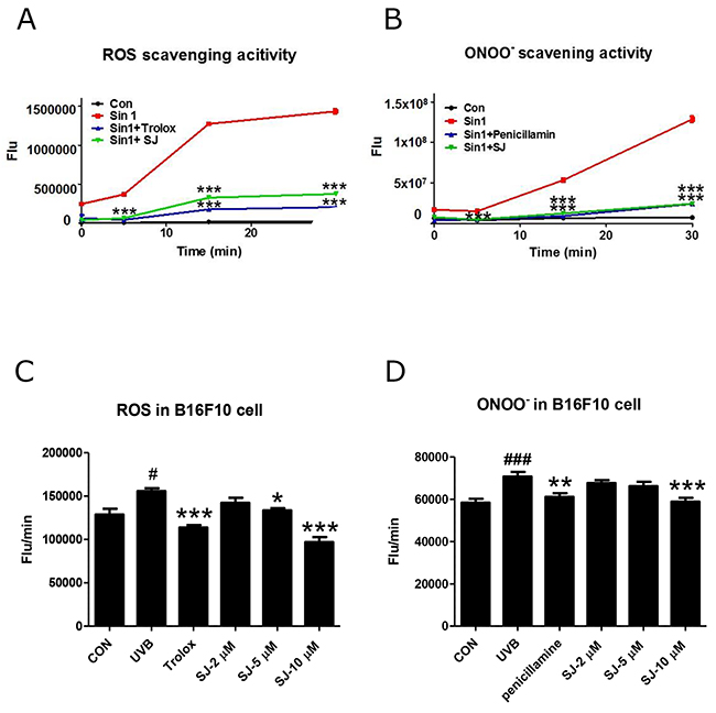 Swertiajaponin reduces UVB-induced oxidative stress in B16F10 cells.