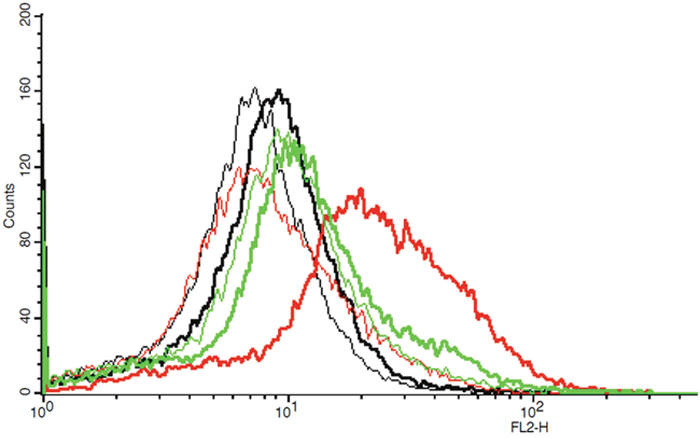 Example of one flow cytometric measurement showing graphs of fluorescence intensity (FL2-H) of IgG isotypic controls and CXCR4 in untreated, methanol-treated and TWEEN20-treated PC-3 cells, respectively (thin graphs: IgG isotypic controls, bold graphs: CXCR4; black: untreated cells, red: methanol-treated cells, green: TWEEN20-treated cells, respectively).