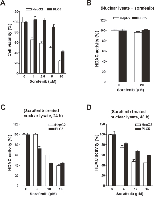 Effects of sorafenib on the cell viability and histone deacetylase (HDAC) activity in HepG2 and PLC5 cells.