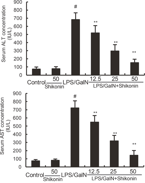 Effects of shikonin on serum ALT and AST levels.