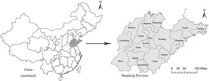 Location of Shandong Province, China.