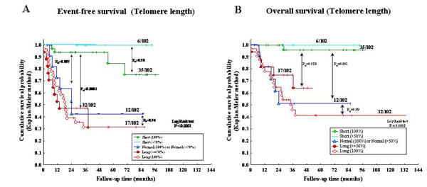 A: Kaplan-Meier Event-Free Survival curve for five patient groups based upon telomere length (TL).