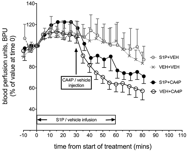 In vivo Laser Doppler measurement of blood flow in tumours following treatment with S1P/CA4P.