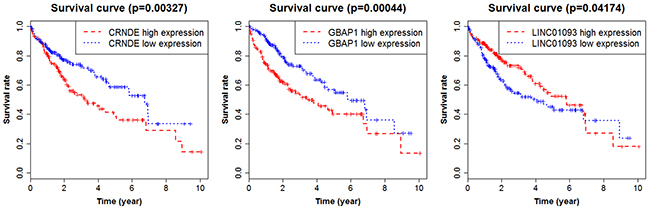 Survival curves showing the relationship between the lncRNAs and the overall survival rate.