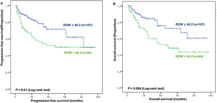 Prognostic value of red blood cell distribution width (RDW) for progression-free survival (PFS) and overall survival (OS).