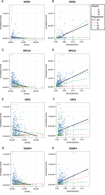 Linear regression analysis within astrocytoma grade for GFAP-regulated high-malignant genes.