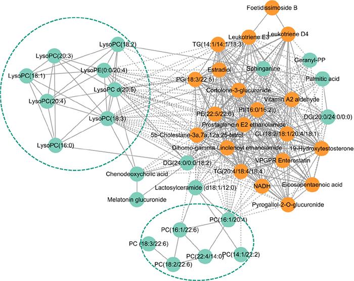 Pearson correlation network of metabolites.