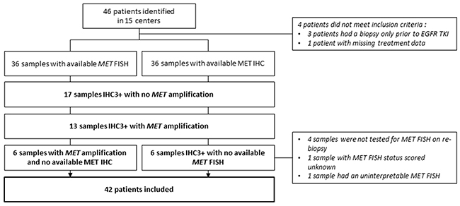 Flow chart of MET overexpression and MET amplification status on post EGFR TKI initiation sample.