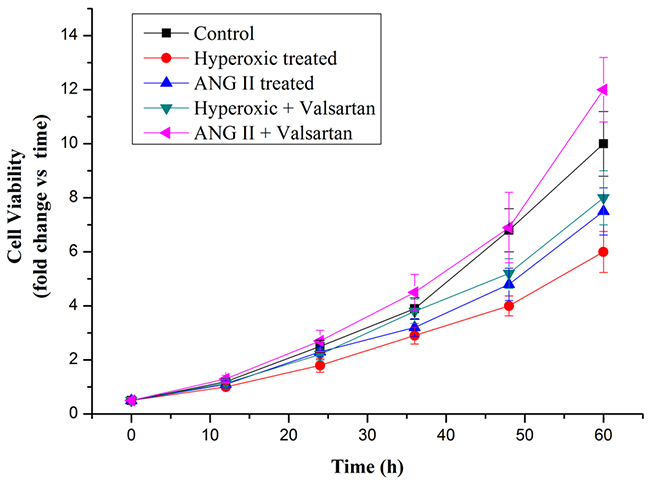 Cell proliferation rate of A549 cells in normoxic condition and in hyperoxic condition as measured by MTT assay.