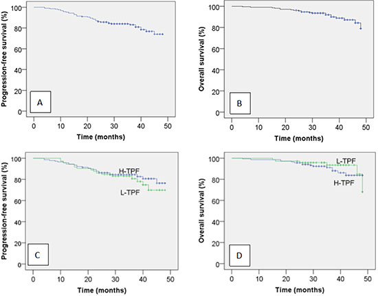 Kaplan-Meir progression-free survival (A) and overall survival curves (B) for all 210 patients with locoregionally advanced NPC and progression-free survival (C) and overall survival curves (D) for the patients stratified by neoadjuvant chemotherapy regimen.