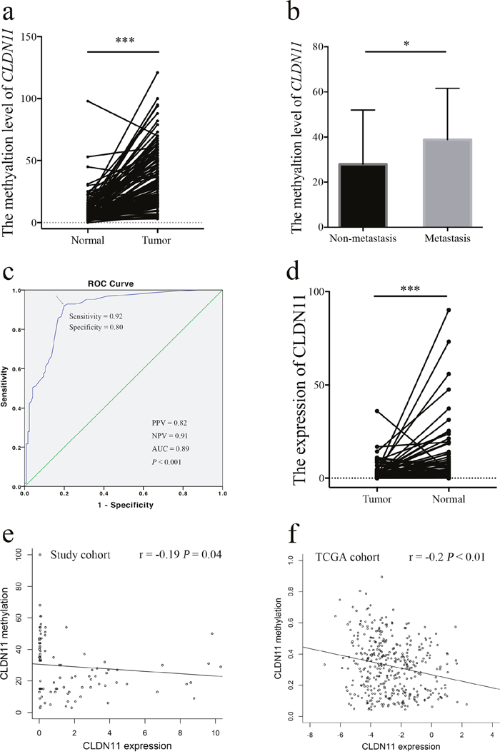 Analysis of CLDN11 gene methylation and expression in CRC patients.