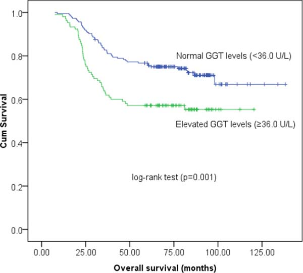Kaplan-Meier survival estimates of overall survival (OS) for 290 cervical cancer patients according to GGT groups.
