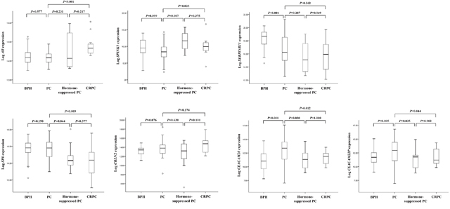 The seven genes that were differentially expressed between primary-site advanced prostate cancer (PC) and castration-resistant PC (CRPC) samples in the NGS cohort were validated by analyzing the validation cohort by using real-time PCR.